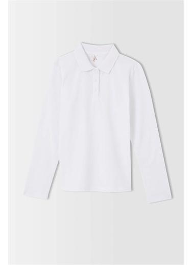 DeFacto Kız Çocuk Uzun Kollu Polo Tişört Beyaz
